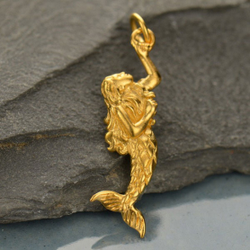 Gold Charms - 3D Mermaid with 24K Gold Plate