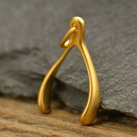 Gold Charm - Medium Wishbone in 24K Gold Plate 20x10mm