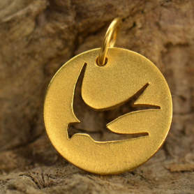 Gold Charm - Swallow Bird Cutout w Gold Plate DISCONTINUED