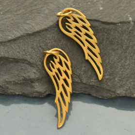 Gold Charms -  Small Wing with 24K Gold Plate 27x8mm