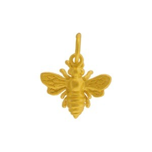 Gold Charm - Small Bee with 24K gold plate 14x12mm