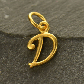 Gold Charms - Initial Charm Letter D 14x7mm