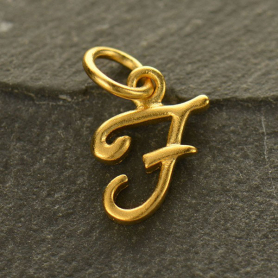Gold Charms - Initial Charm Letter F