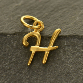 Gold Charms - Initial Charm Letter H