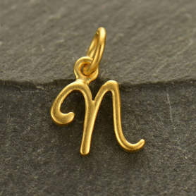 Gold Charms - Initial Charm Letter N