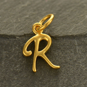 Gold Charms - Initial Charm Letter R