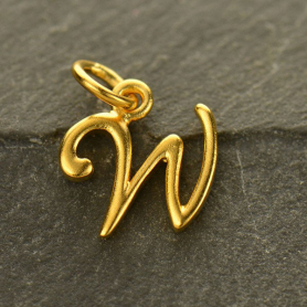Gold Charms - Initial Charm Letter W