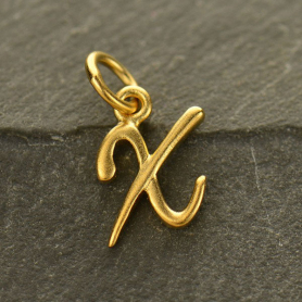 Gold Charms - Initial Charm Letter X