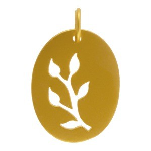 Gold Pendants - Oval w Leaf Cutout in Gold PlateDISCONTINUED
