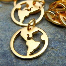 Gold Charms - World Openwork with 24K Gold Plate 16x13mm
