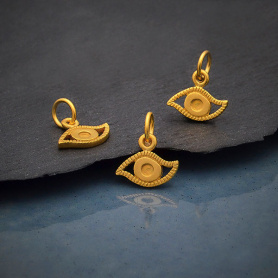 Gold Charms - Evil Eye with 24K Gold Plate 12x10mm