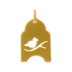 Gold Charms - Bird in Cage with 24K Gold Plate DISCONTINUED