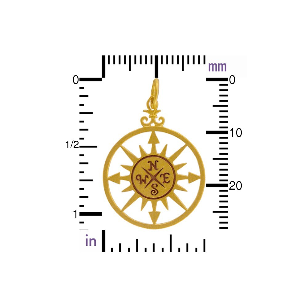 Gold Pendants - Compass Rose with 24K Gold Plate 30x20mm