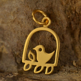 Gold Charm - Bird on a Perch w 24K Gold Plate DISCONTINUED