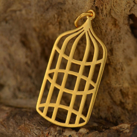 Gold Charms - Bird Cage with 24K Gold Plate DISCONTINUED