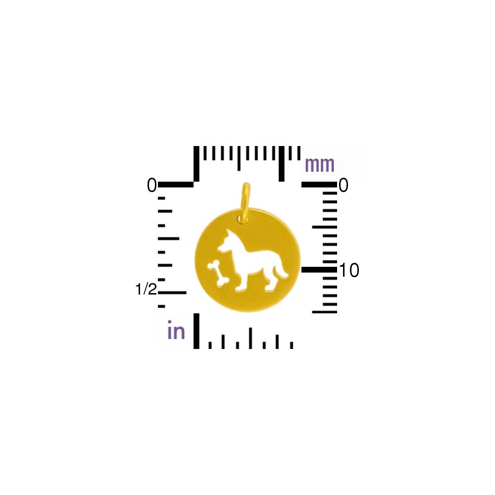 Charm-Round Disc w Dog Cutout in Gold Plate DISCONTINUED