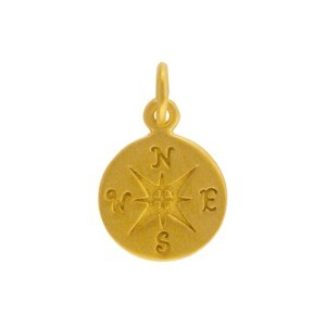 24K Gold Plated Sterling Silver Compass Charm 16x10mm