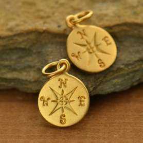 24K Gold Plated Sterling Silver Compass Charm -16mm