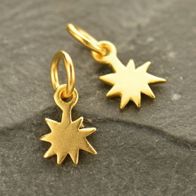Gold Charms - Tiny Starburst with 24K Gold Plate 12x6mm