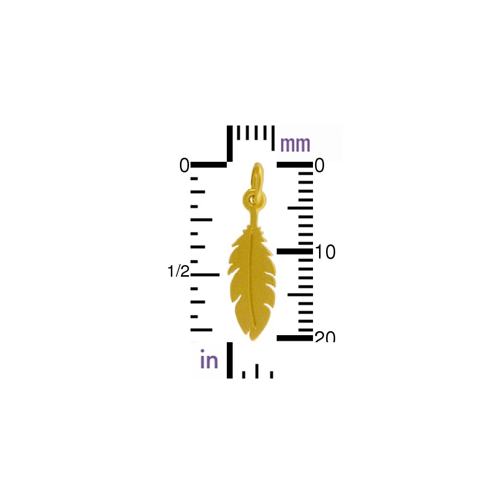Gold Charms - Flat Feather with 24K Gold Plate 22x6mm