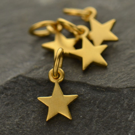 Satin 24K Gold Plated Tiny Flat Star Charm 12x6mm