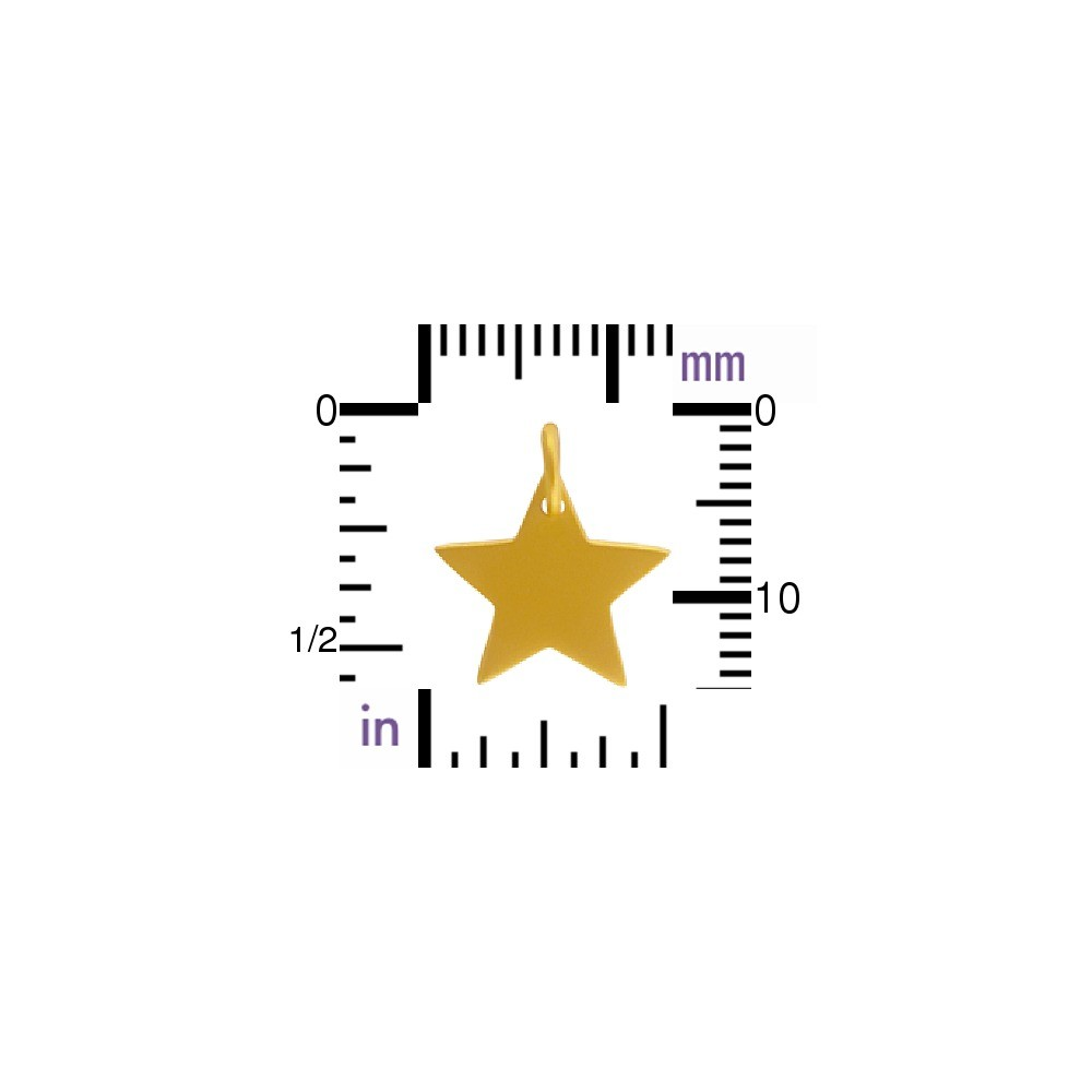 24K Satin Gold Plated Sterling Silver Large Star Charm -15mm