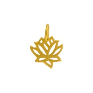 Gold Charms - Tiny Lotus with 24K Gold Plate 12x9mm