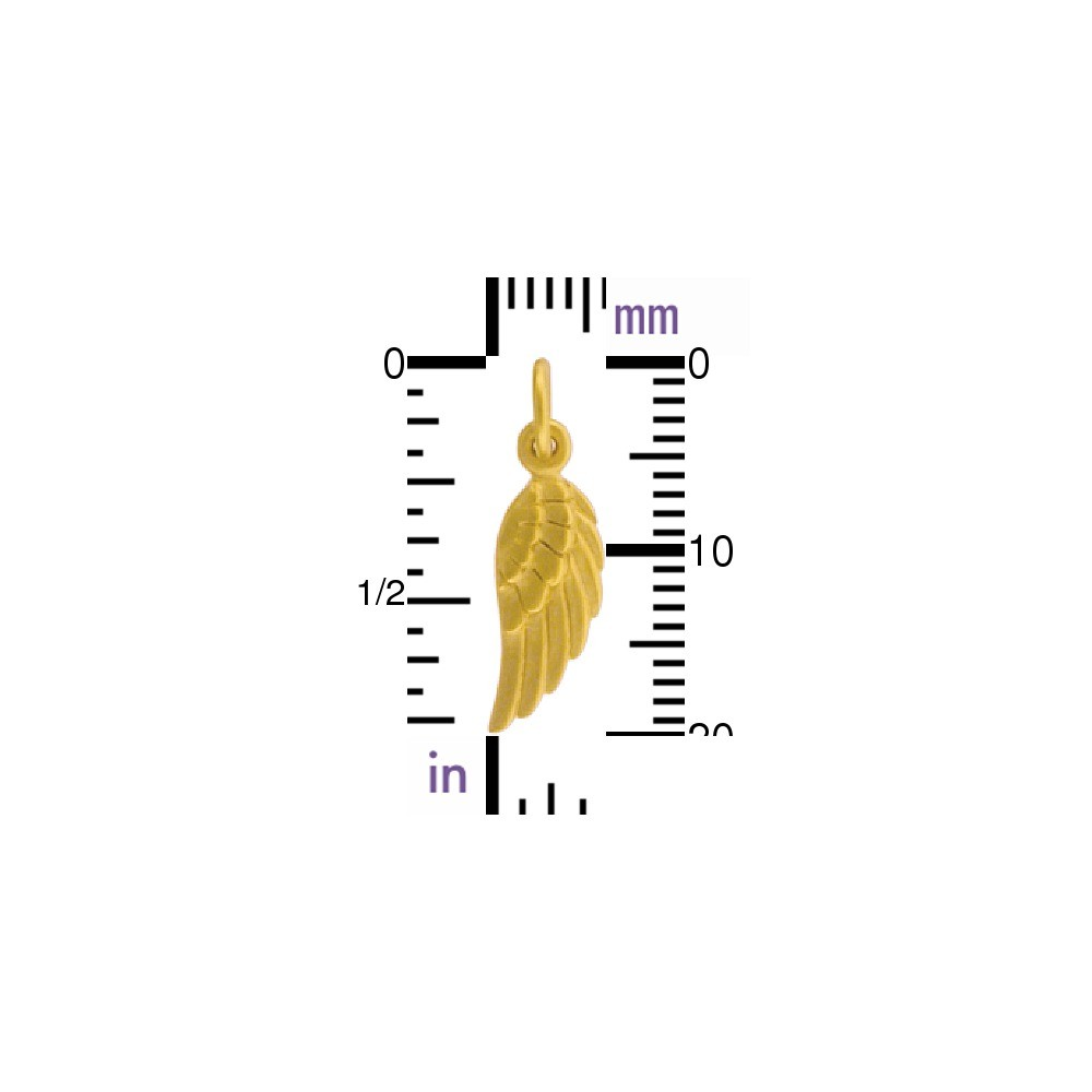 24K Gold Plate Angel Wing Charm Right Side -20mm