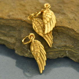 Satin 24K Gold Plate Angel Wing Charm Right Side 20x5mm