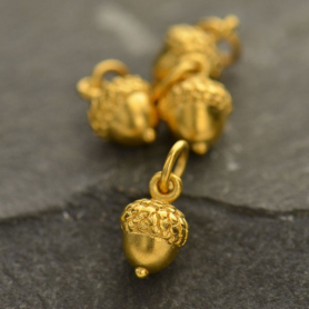 Gold Charms - Small Acorn with 24K Gold Plate
