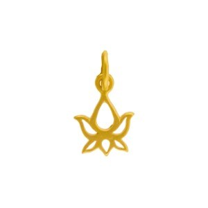 Gold Charms - Lotus Bud with 24K Gold Plate 14x8mm
