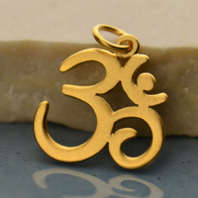 Gold Charm - Large Om with 24K Gold Plate 20x15mm