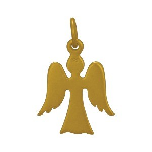 Gold Charms - Angel with 24K Gold Plate 19x12mm