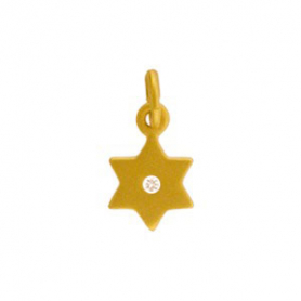 Gold Charms - Star of David with 24K Gold Plate 14x7mm