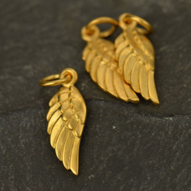 24K Gold Plate Angel Wing Charm Left Side 20x6mm