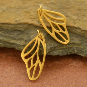 Gold Charm -Butterfly Wing Charm with 24K Gold Plate 23x11mm