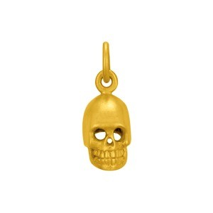 Gold Charms  - Small Skull with 24K Gold Plate 15x6mm
