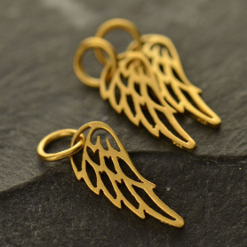 Gold Charms - Tiny Wing in 24K Gold Plate 18x6mm