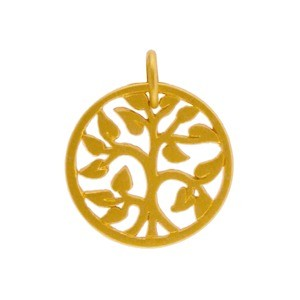 Gold Charms - Small Tree of Life in 24K Gold Plate 17x13mm