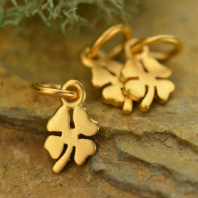 Gold Charm - Four Leaf Clover with 24K Gold Plate 13x5mm