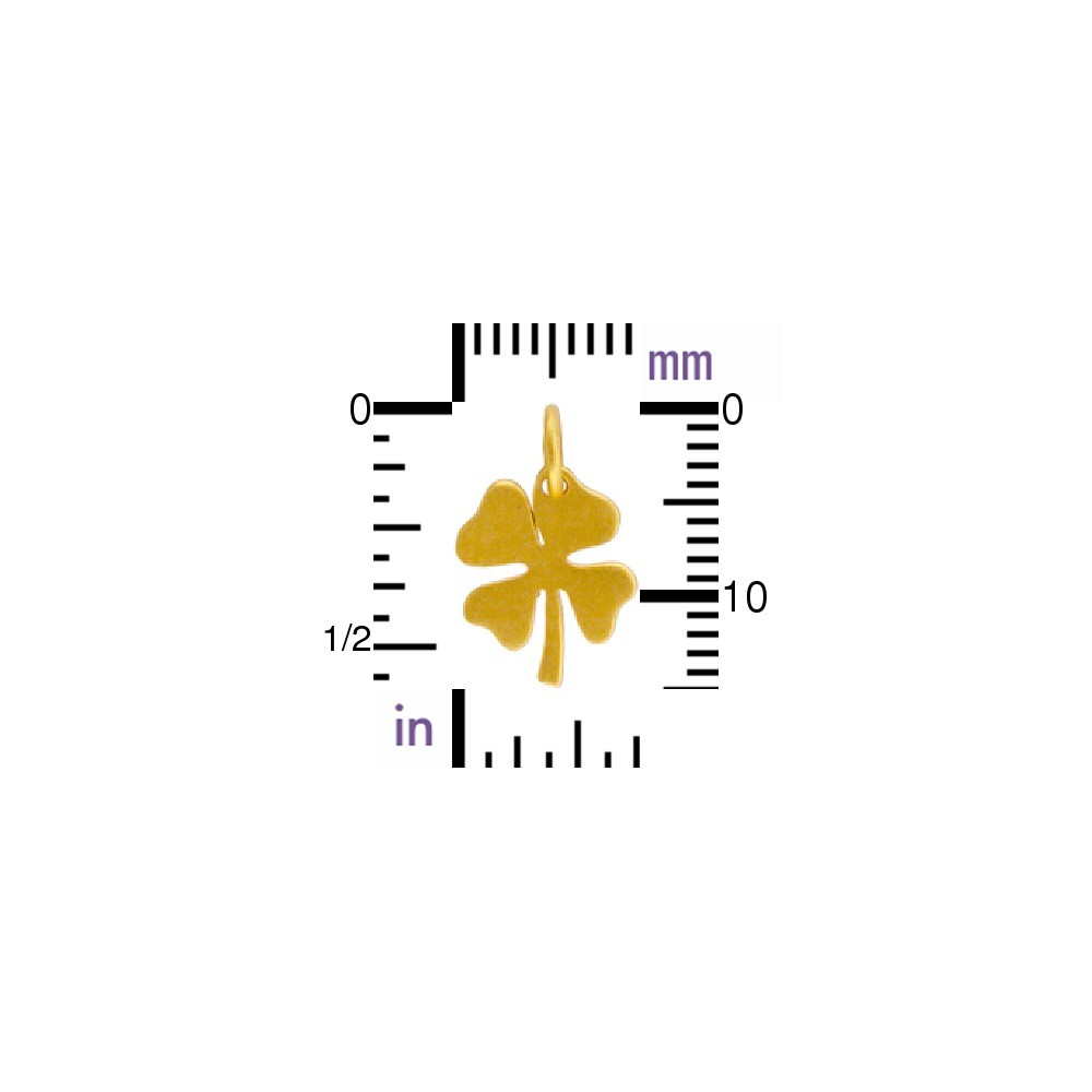Gold Charms - Clover Charm with 24K Gold Plate 15x10mm