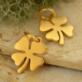 Gold Charms - Medium Clover Charm with 24K Gold Plate