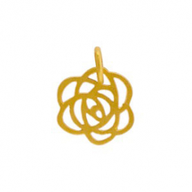Gold Charms - Tiny Art Deco Rose with 24K Gold Plate