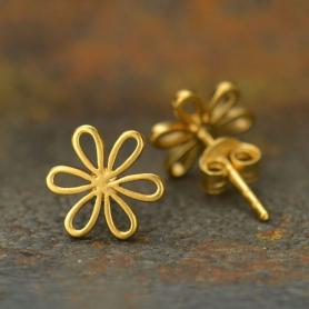 Gold Stud Earrings - Daisy in 24K Gold Plate