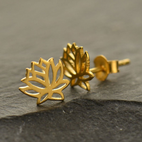 Satin 24K Gold Plated Lotus Post Earrings 9x9mm