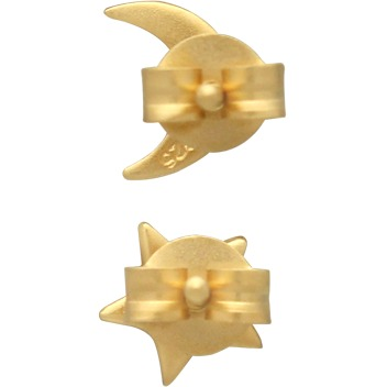 Gold Stud Earrings - Star and Moon in 24K Gold Plate 7x5mm