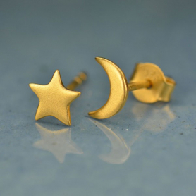Gold Stud Earrings - Star and Moon in 24K Gold Plate
