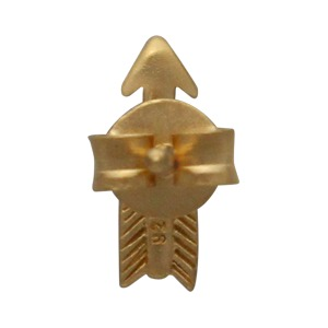 24K Gold Plated Sterling Silver Arrow Stud Earrings 10x3mm