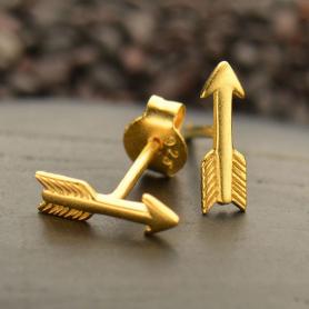 24K Gold Plated Sterling Silver Arrow Stud Earrings -10mm