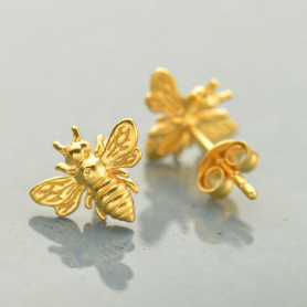 Gold Stud Earrings - Bumble Bee in 24K Gold Plate 9x11mm